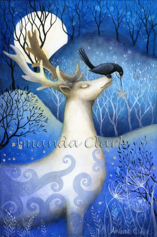 A fairy tale art print by Amanda Clark. Guardian of the Stars.