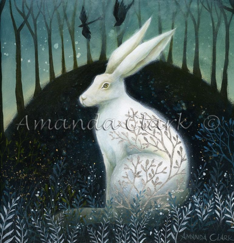 Mystical White Hare painting.  Hand embellished with silver leaf.