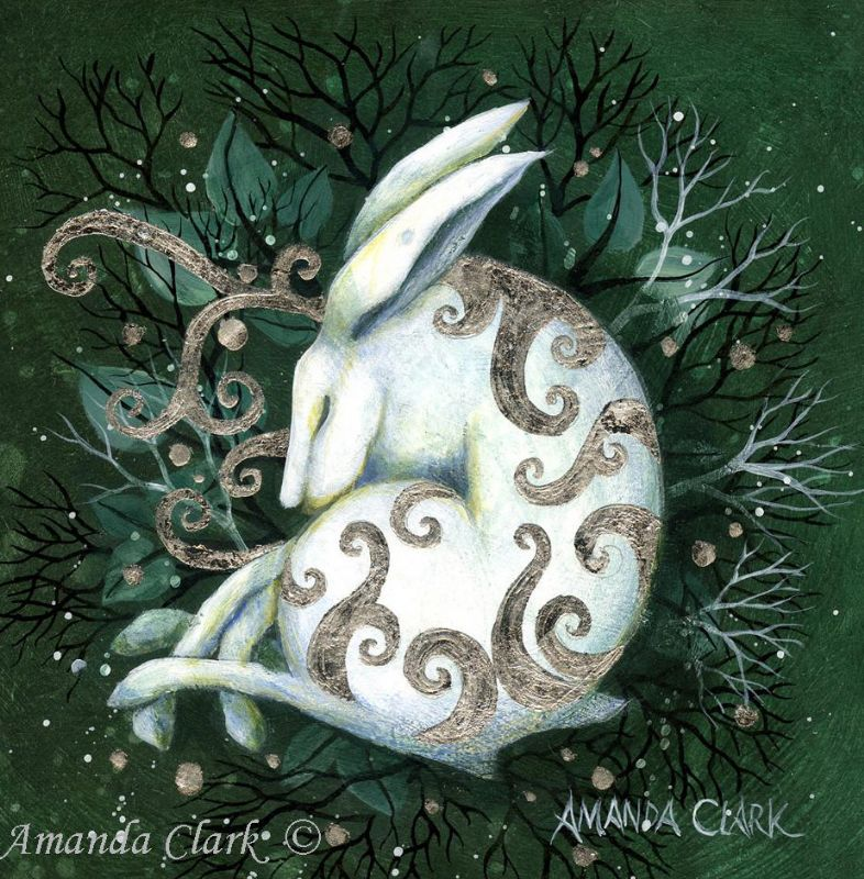 Minature art prints, hand embellished with gold leaf.  White Hare, wildlife art, collectors item.