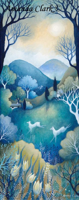 New paintings by Amanda Clark. 2017.  Inspired by the countryside with a fairy tale twist.