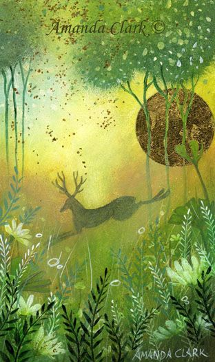 Stag painting by Amanda Clark.  Misty Meadow.